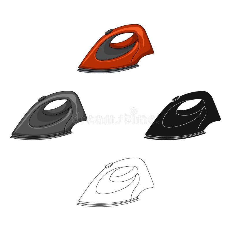 Σίδηρος για το σιδέρωμα Ενιαίο εικονίδιο στεγνού καθαρισμού στα κινούμενα σχέδια, μαύρος Ιστός απεικόνισης αποθεμάτων συμβόλων ύφ ελεύθερη απεικόνιση δικαιώματος