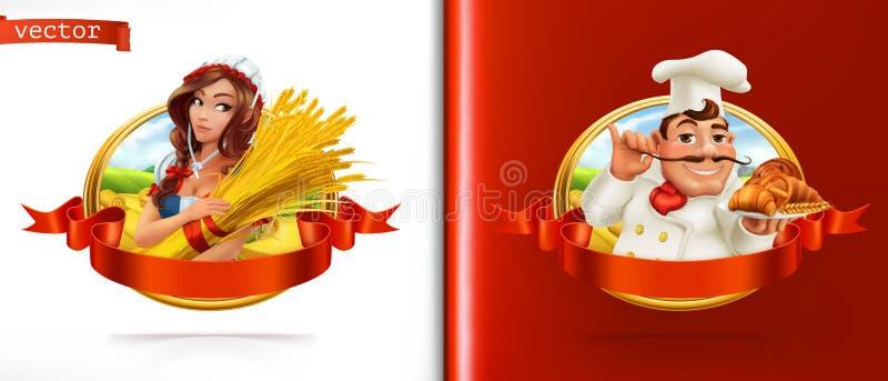 Σίτος και ψωμί Farmer και Baker τρισδιάστατο διάνυσμα απεικόνιση αποθεμάτων