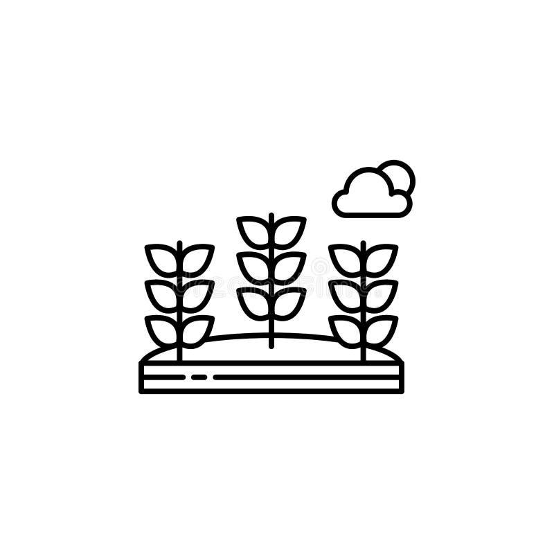 Σίτος, λουλούδια, εικονίδιο περιλήψεων σύννεφων Στοιχείο της απεικόνισης τοπίων Το εικονίδιο περιλήψεων σημαδιών και συμβόλων μπο ελεύθερη απεικόνιση δικαιώματος