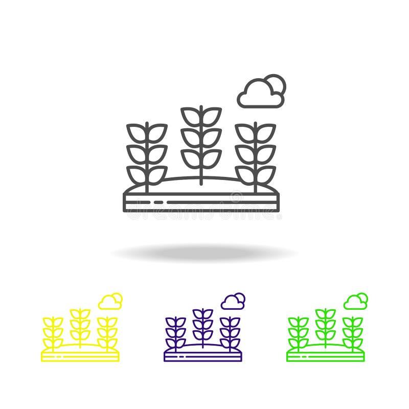 Σίτος, λουλούδια, χρωματισμένο σύννεφο εικονίδιο Μπορέστε να χρησιμοποιηθείτε για τον Ιστό, λογότυπο, κινητό app, UI, UX απεικόνιση αποθεμάτων