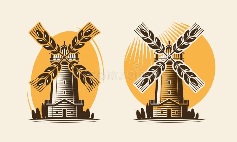 Σίτος μύλων, ανεμόμυλων και αυτιών Αρτοποιείο, αγρόκτημα, γεωργικό λογότυπο βιομηχανίας ή εικονίδιο επίσης corel σύρετε το διάνυσ διανυσματική απεικόνιση