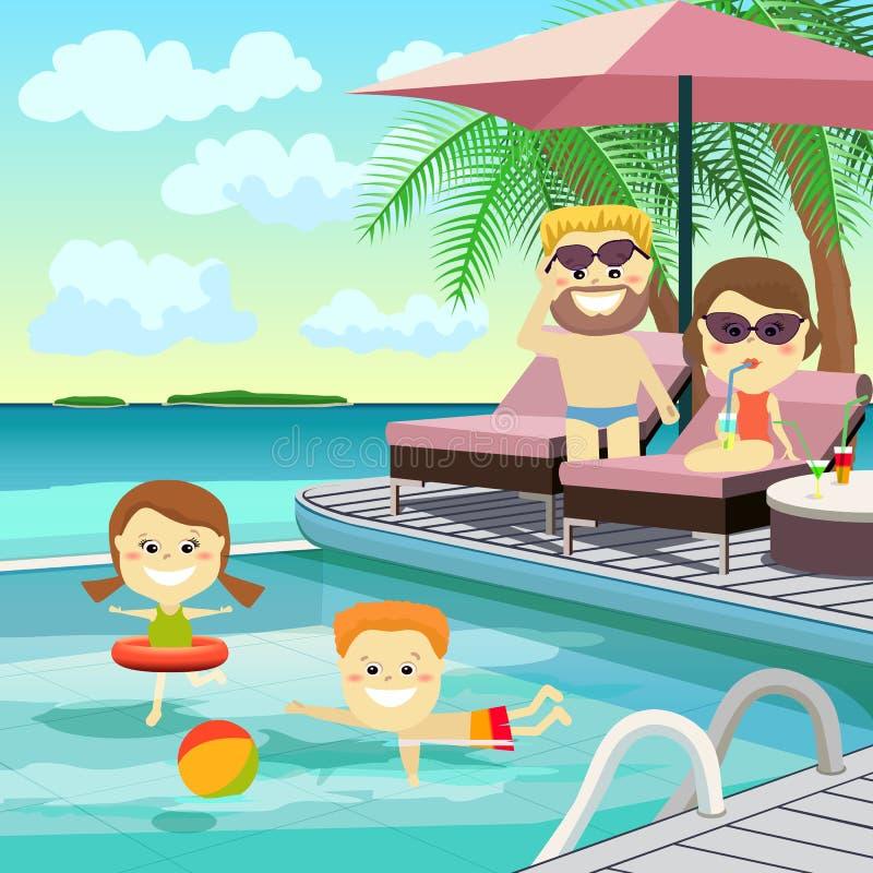 Σαββατοκύριακο οικογενειακών πατέρων παιδιών ποδηλάτων Οικογένεια στις διακοπές γύρω από τη λίμνη απεικόνιση αποθεμάτων