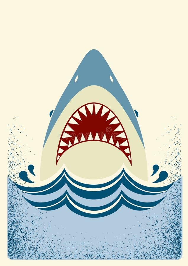 Σαγόνια καρχαριών αφηρημένο διάνυσμα απεικόνισης ψαριών χρώματος ελεύθερη απεικόνιση δικαιώματος