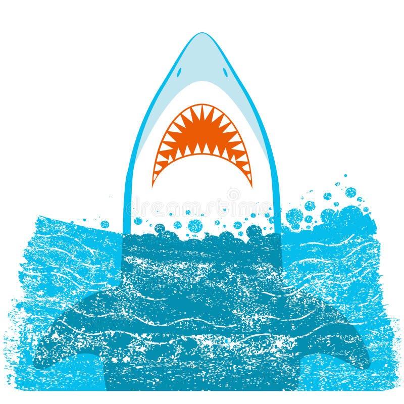 Σαγόνια καρχαριών Διανυσματική μπλε απεικόνιση υποβάθρου ελεύθερη απεικόνιση δικαιώματος