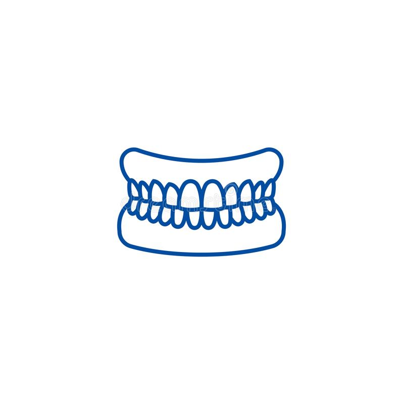 Σαγόνι με την έννοια εικονιδίων γραμμών δοντιών Σαγόνι με το επίπεδο διανυσματικό σύμβολο δοντιών, σημάδι, απεικόνιση περιλήψεων απεικόνιση αποθεμάτων
