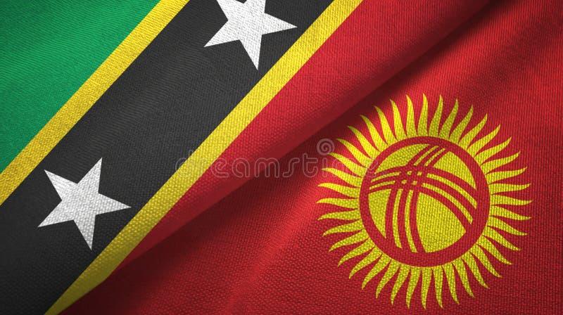 Σαιντ Κιτς και Νέβις και Κιργιστάν δύο υφαντικό ύφασμα σημαιών, σύσταση υφάσματος απεικόνιση αποθεμάτων
