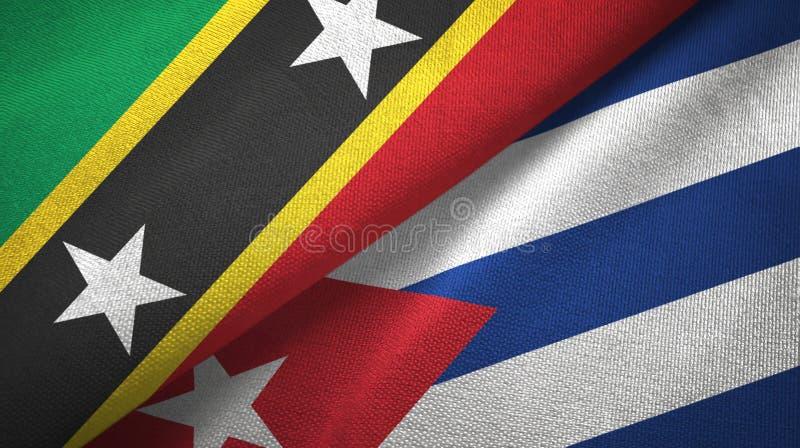 Σαιντ Κιτς και Νέβις και Κούβα δύο υφαντικό ύφασμα σημαιών, σύσταση υφάσματος ελεύθερη απεικόνιση δικαιώματος