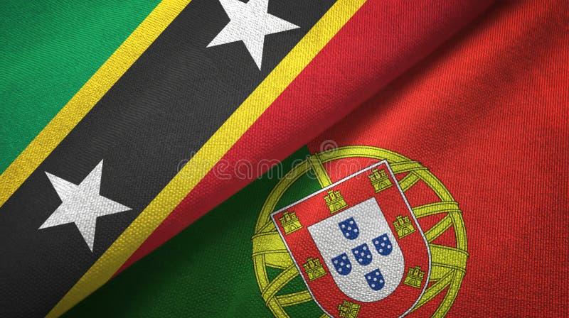 Σαιντ Κιτς και Νέβις και Πορτογαλία δύο υφαντικό ύφασμα σημαιών, σύσταση υφάσματος ελεύθερη απεικόνιση δικαιώματος