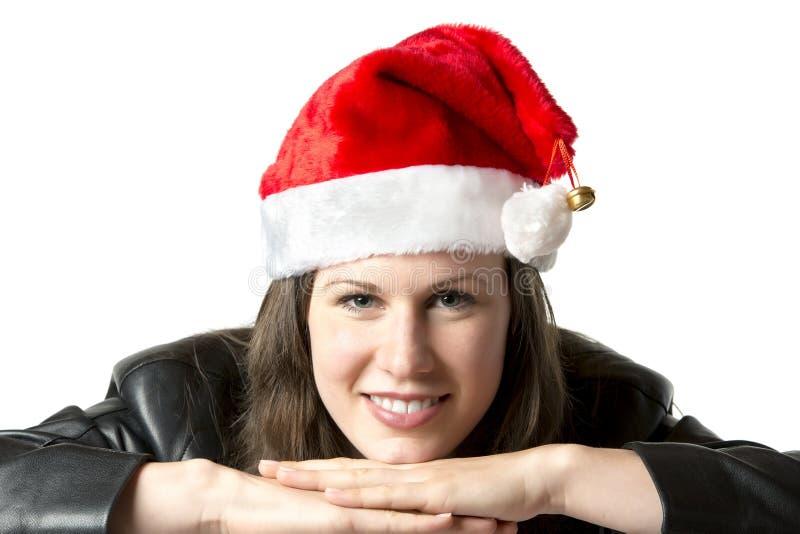 Σακάκι δέρματος γυναικών Santa στοκ εικόνες