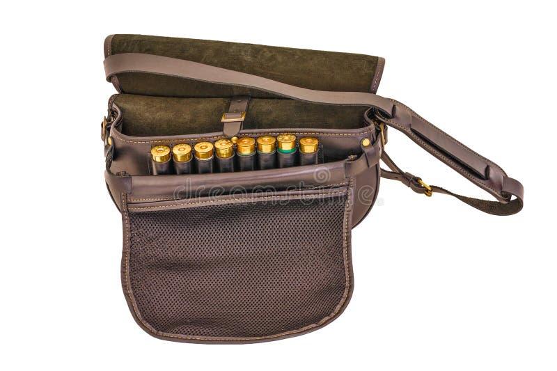 Σακούλα κασετών πυρομαχικών, απομονωμένη, τοπ άποψη στοκ εικόνες