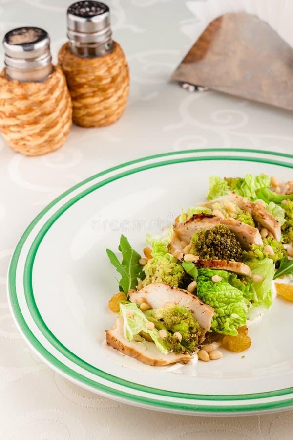 Σαλάτα μιγμάτων με τα καρύδια κοτόπουλου και πεύκων στοκ εικόνες με δικαίωμα ελεύθερης χρήσης