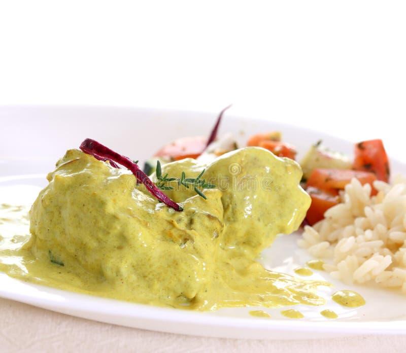 σαλάτα ρυζιού κάρρυ κοτόπ&om στοκ εικόνες με δικαίωμα ελεύθερης χρήσης