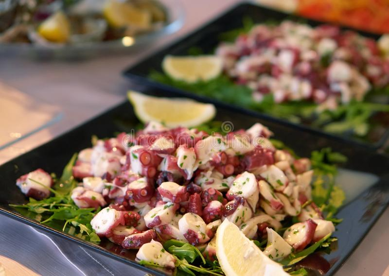 Σαλάτα χταποδιών με το rucola και το λεμόνι - υγιή τρόφιμα στοκ φωτογραφίες με δικαίωμα ελεύθερης χρήσης