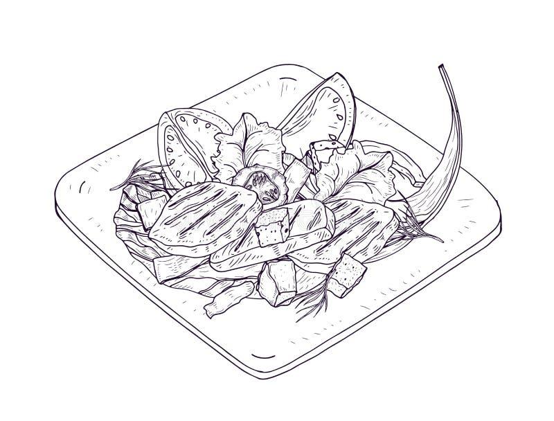 Σαλάτα Caesar σε ετοιμότητα πιάτων που επισύρεται την προσοχή με τις γραμμές περιγράμματος στο άσπρο υπόβαθρο Εύγευστο γεύμα εστι ελεύθερη απεικόνιση δικαιώματος