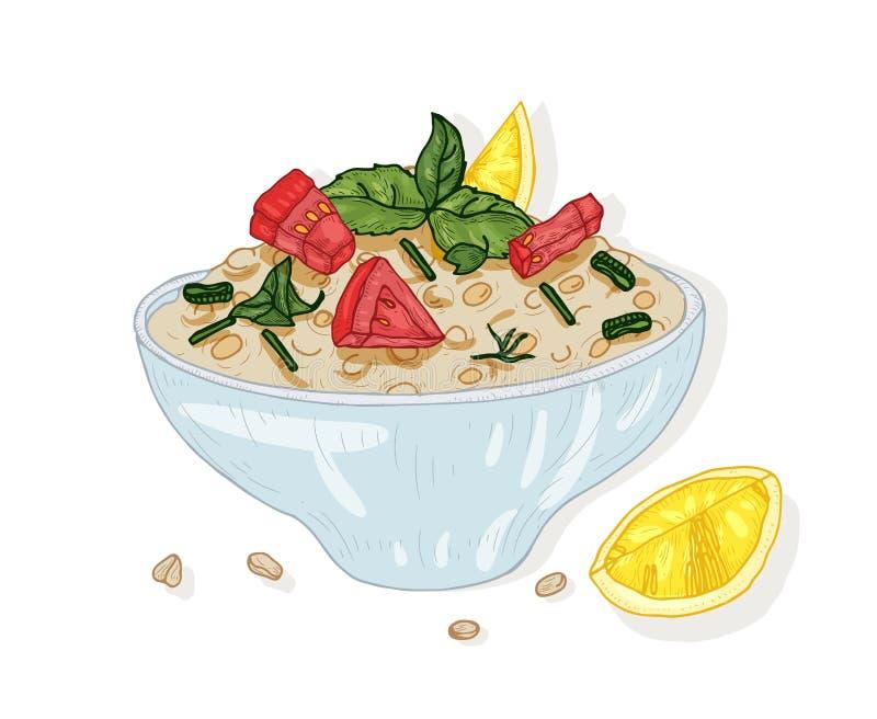 Σαλάτα Tabbouleh στο κύπελλο που απομονώνεται στο άσπρο υπόβαθρο Νόστιμο vegan γεύμα εστιατορίων φιαγμένο από ντομάτες και bulgur διανυσματική απεικόνιση