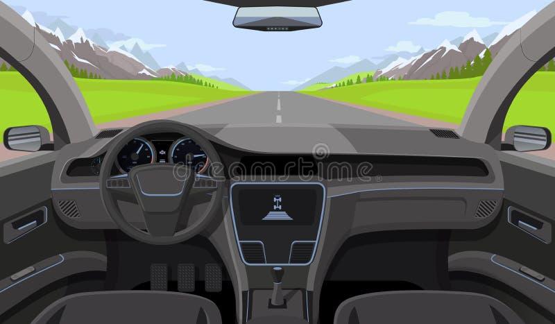 Σαλόνι οχημάτων, εσωτερική άποψη οδηγών αυτοκινήτων με το πηδάλιο, ταμπλό και δρόμος, τοπίο στον ανεμοφράκτη Οδηγώντας διάνυσμα π απεικόνιση αποθεμάτων