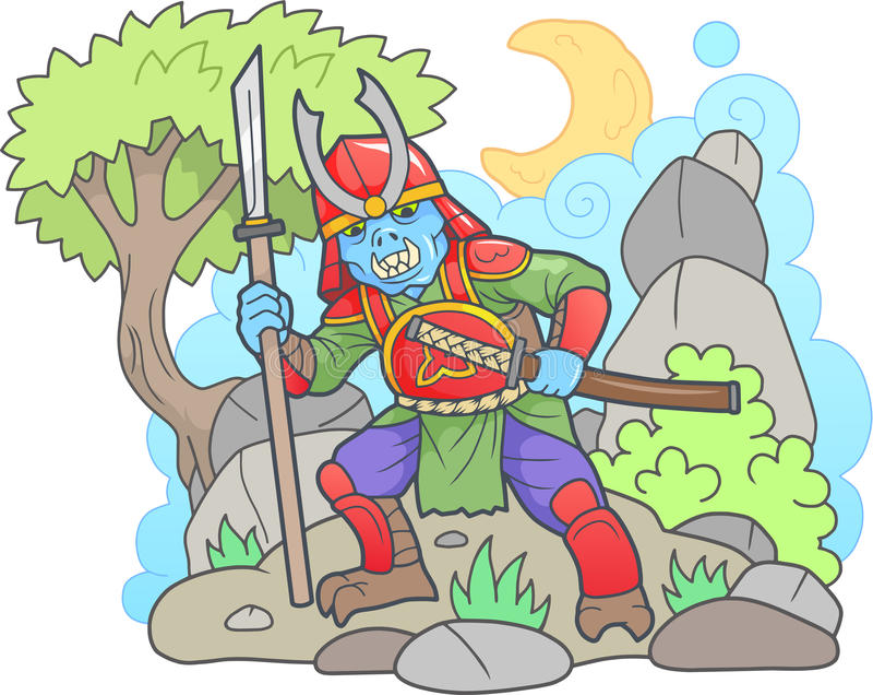 Σαμουράι Zombie, αστεία εικόνα απεικόνιση αποθεμάτων