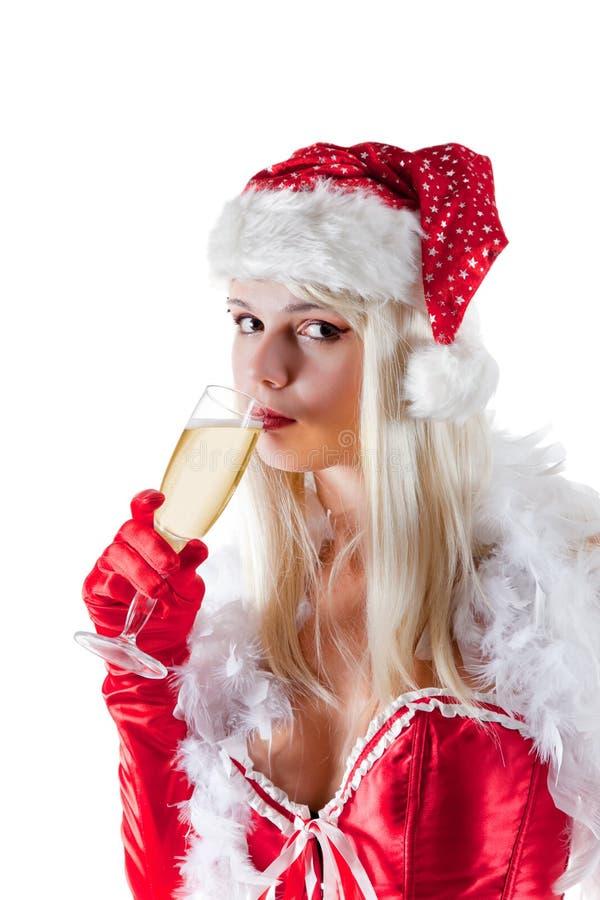Σαμπάνια κατανάλωσης κας Άγιος Βασίλης στοκ εικόνες