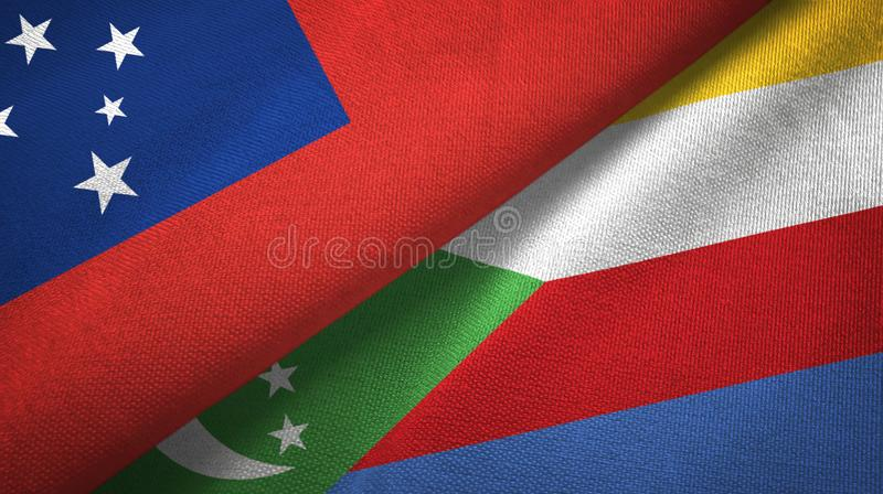 Σαμόα και Κομόρες δύο υφαντικό ύφασμα σημαιών, σύσταση υφάσματος διανυσματική απεικόνιση
