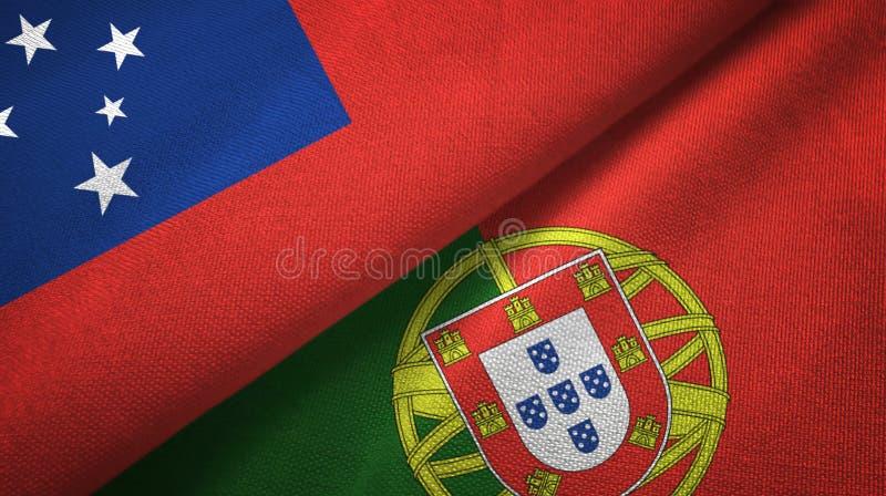 Σαμόα και Πορτογαλία δύο υφαντικό ύφασμα σημαιών, σύσταση υφάσματος διανυσματική απεικόνιση