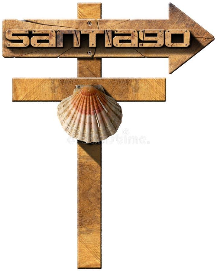 Σαντιάγο de Compostela - ξύλινο σημάδι απεικόνιση αποθεμάτων