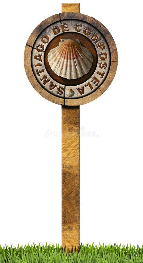 Σαντιάγο de Compostela - ξύλινο σημάδι διανυσματική απεικόνιση