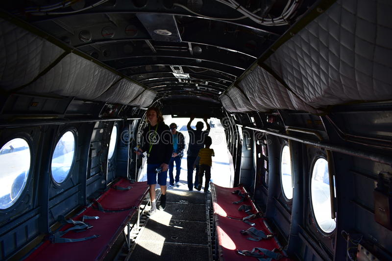 Σαν Ντιέγκο, Καλιφόρνια - ΗΠΑ - 04.2016 Δεκεμβρίου - ελικόπτερο 46 ναυτικού εσωτερικό στοκ εικόνες