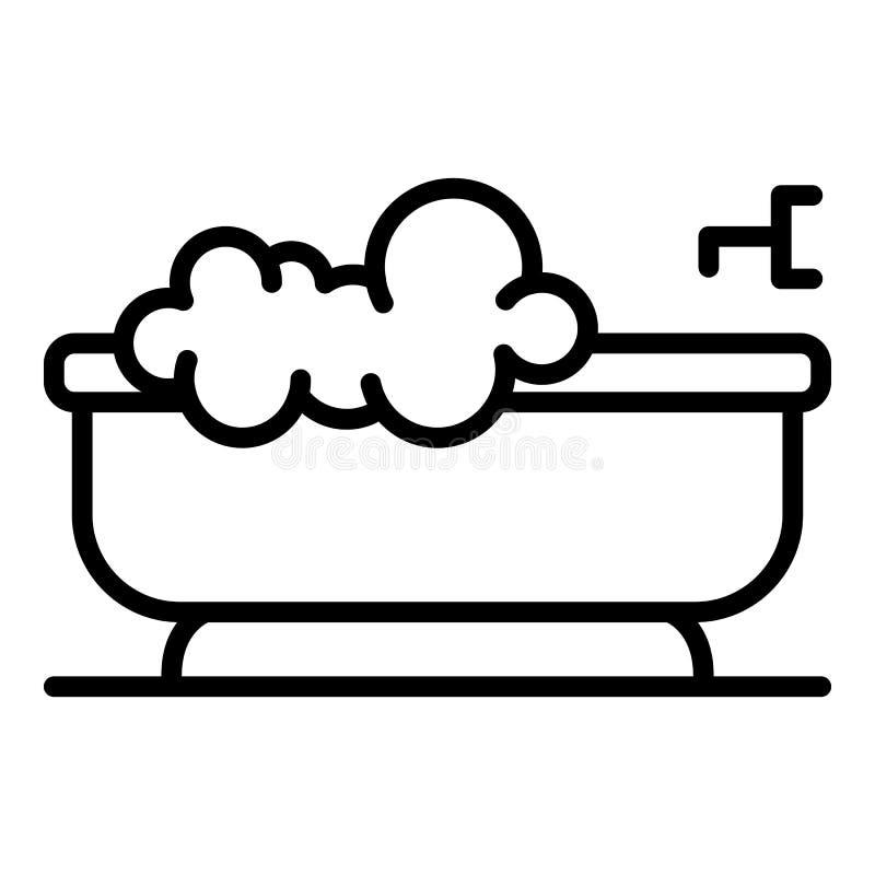 Σαπούνι στο εικονίδιο μπανιέρων, ύφος περιλήψεων διανυσματική απεικόνιση