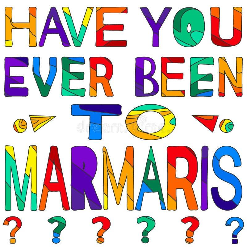 Σας έχει όντας πάντα σε Marmaris - η сolorful φωτεινή επιγραφή διανυσματική απεικόνιση
