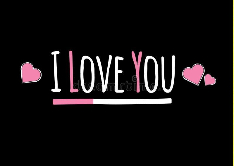 σας αγαπώ Καρδιά Αστείο σύνθημα μόδας με ένα μπάλωμα κερασιών για τη γραφική διανυσματική τυπωμένη ύλη μπλουζών και ιματισμού διά ελεύθερη απεικόνιση δικαιώματος