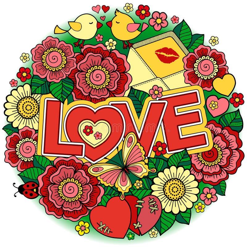 σας αγαπώ Πλαίσιο Rounder φιαγμένο από λουλούδια, πεταλούδες, φίλημα πουλιών και αγάπη λέξης ελεύθερη απεικόνιση δικαιώματος