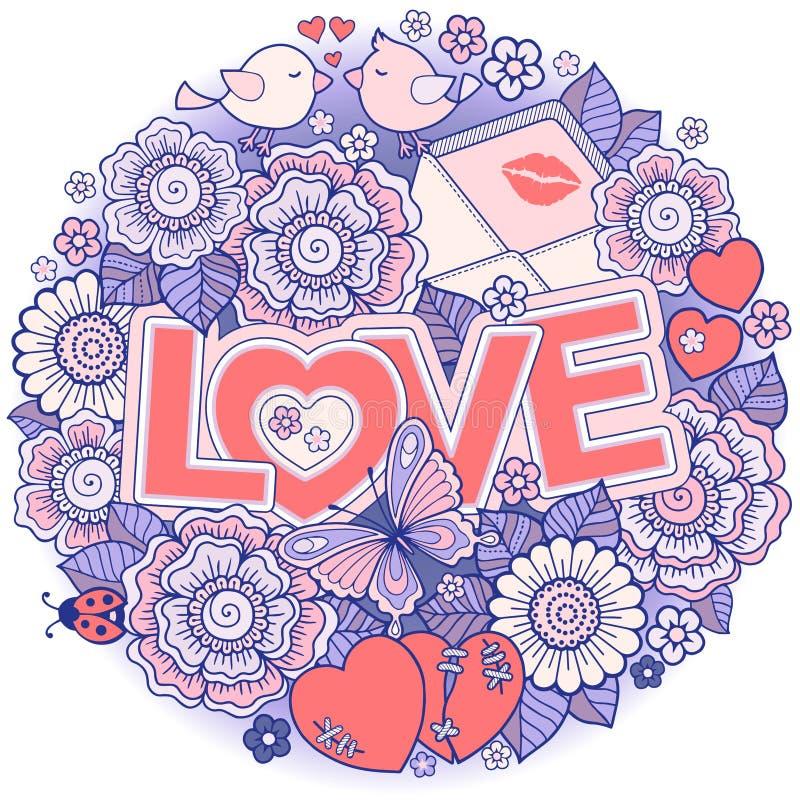 σας αγαπώ Πλαίσιο Rounder φιαγμένο από λουλούδια, πεταλούδες, φίλημα πουλιών και αγάπη λέξης απεικόνιση αποθεμάτων