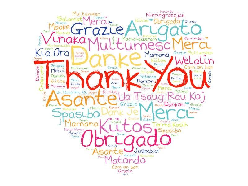 Σας ευχαριστούμε αγαπά το σύννεφο του Word καρδιών διανυσματική απεικόνιση