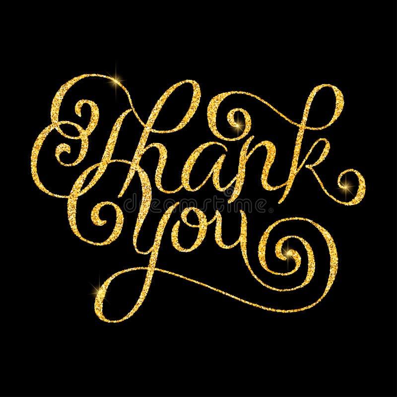 Σας ευχαριστούμε ακτινοβολεί χρυσή εγγραφή χεριών διανυσματική απεικόνιση