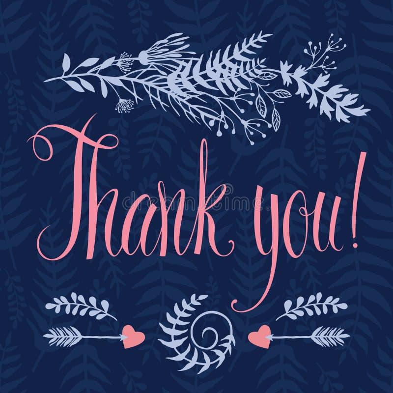 Σας ευχαριστούμε λαναρίζει με την καρδιά, δασικά χορτάρια, βέλη απεικόνιση αποθεμάτων