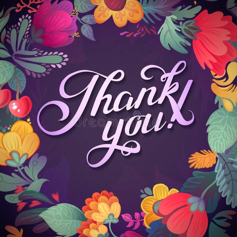 Σας ευχαριστούμε λαναρίζει στα φωτεινά χρώματα Μοντέρνο floral υπόβαθρο με το κείμενο, τα μούρα, τα φύλλα και το λουλούδι ελεύθερη απεικόνιση δικαιώματος