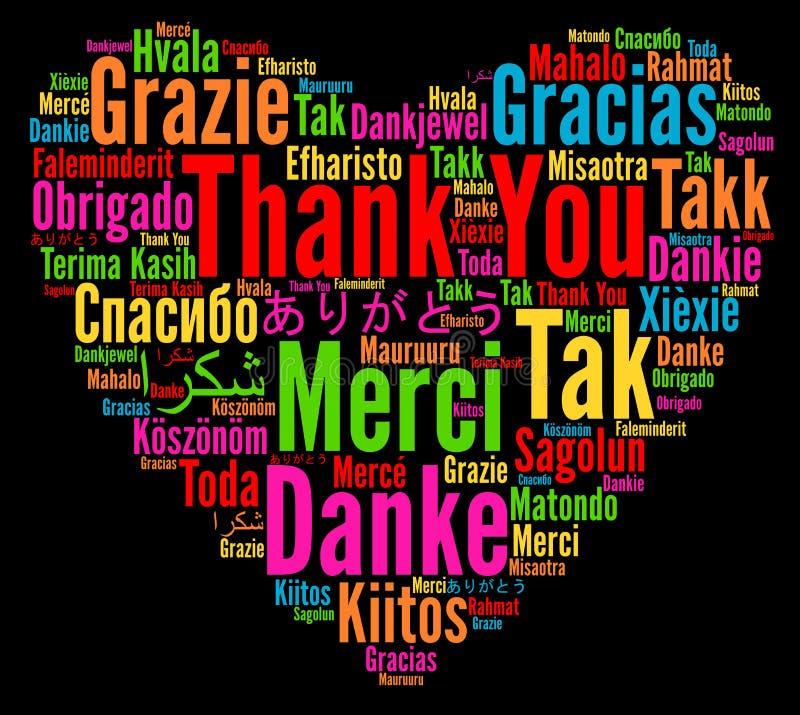 Σας ευχαριστούμε απεικόνιση στις διαφορετικές γλώσσες διανυσματική απεικόνιση