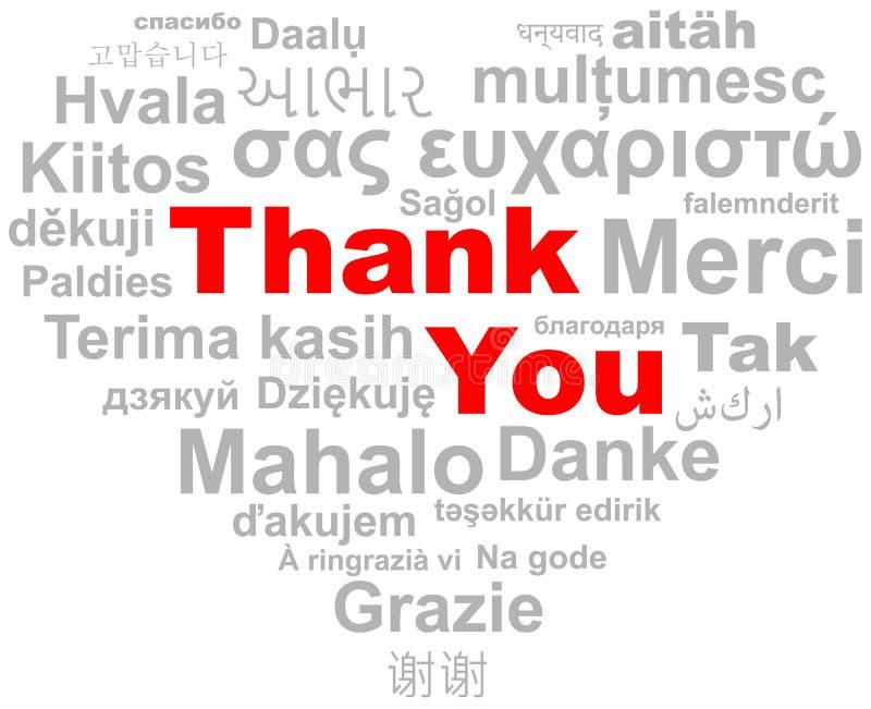 Σας ευχαριστούμε διάνυσμα σύννεφων λέξης καρδιών απεικόνιση αποθεμάτων