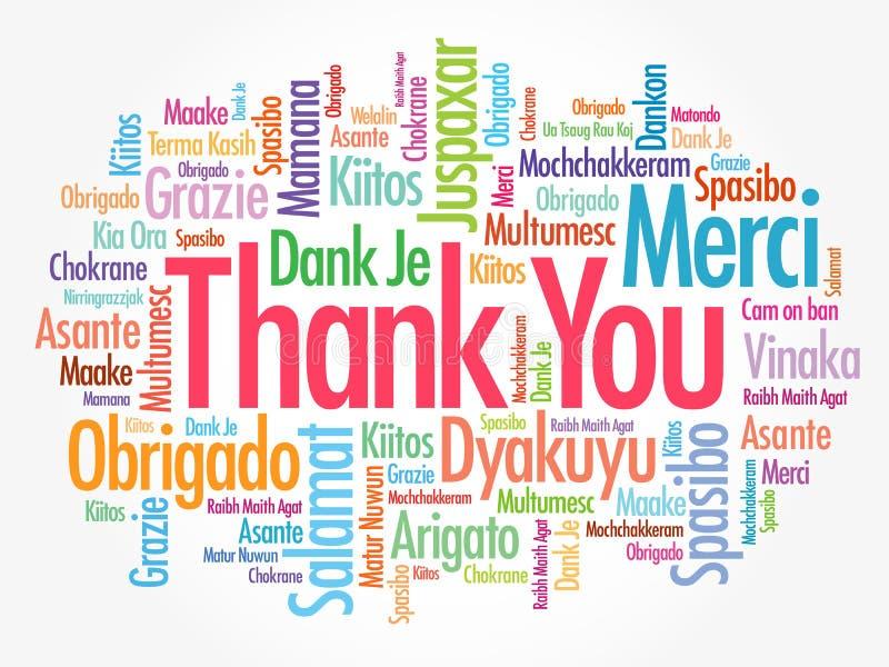Σας ευχαριστούμε διατυπώνει το σύννεφο στις διαφορετικές γλώσσες, υπόβαθρο έννοιας διανυσματική απεικόνιση