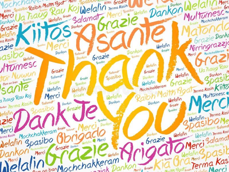 Σας ευχαριστούμε διατυπώνει το σύννεφο στις διαφορετικές γλώσσες στοκ φωτογραφία με δικαίωμα ελεύθερης χρήσης