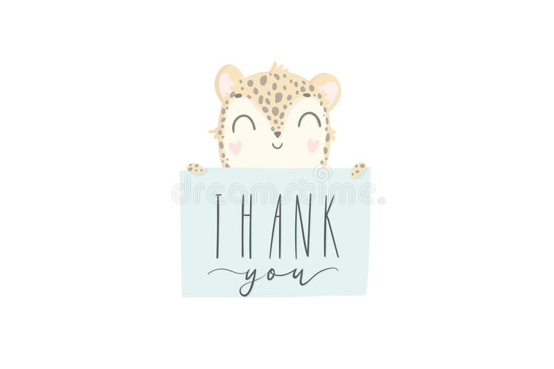 Σας ευχαριστούμε εσείς ευχετήρια κάρτα με τη χαριτωμένη συρμένη χέρι λεοπάρδαλη μωρών ελεύθερη απεικόνιση δικαιώματος
