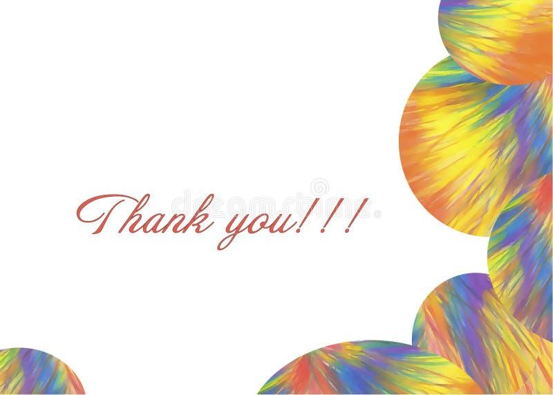 Σας ευχαριστούμε ζωηρόχρωμη κάρτα με τους αφηρημένους εύθυμους κύκλους ουράνιων τόξων, ταραχή των χρωμάτων, φανταστικά χρώματα σε διανυσματική απεικόνιση