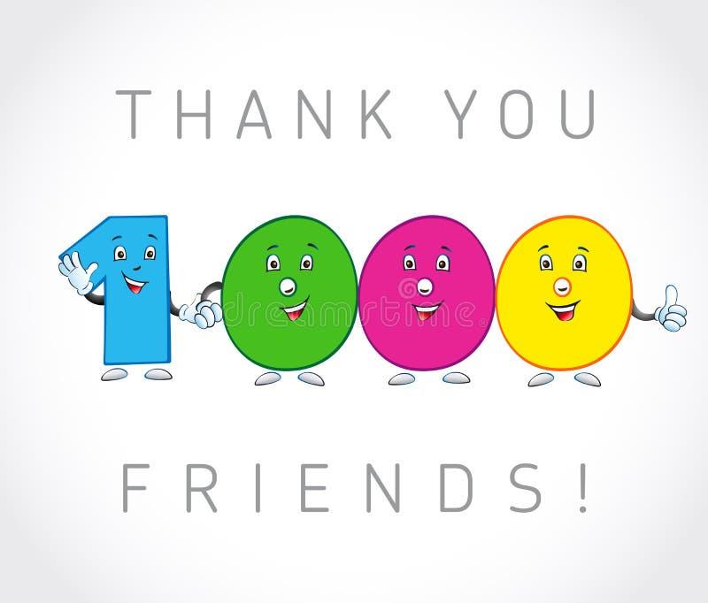 Σας ευχαριστούμε κάρτα 1000 οπαδών απεικόνιση αποθεμάτων