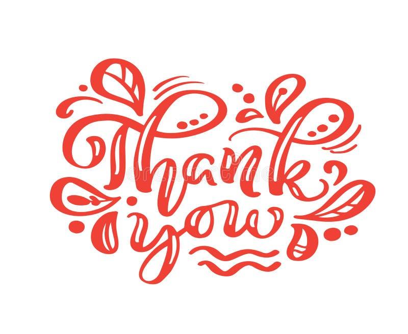 Σας ευχαριστούμε κόκκινη καλλιγραφία γράφοντας το διανυσματικό κείμενο Για τη σελίδα καταλόγων σχεδίου προτύπων τέχνης, ύφος φυλλ διανυσματική απεικόνιση