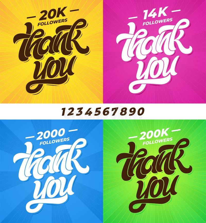 Σας ευχαριστούμε οπαδοί Σύνολο εμβλημάτων για τα κοινωνικά μέσα με την εγγραφή και όλα τα ψηφία Σύγχρονη καλλιγραφία βουρτσών edi διανυσματική απεικόνιση
