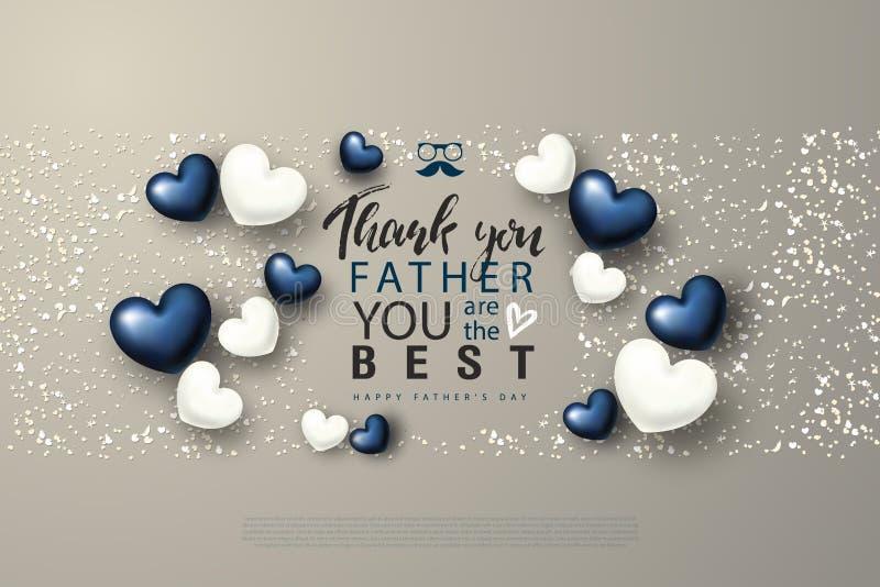 Σας ευχαριστούμε πατέρας που είστε η καλύτερη ευτυχής ευχετήρια κάρτα ημέρας πατέρων ` s με τις καρδιές επίσης corel σύρετε το δι ελεύθερη απεικόνιση δικαιώματος