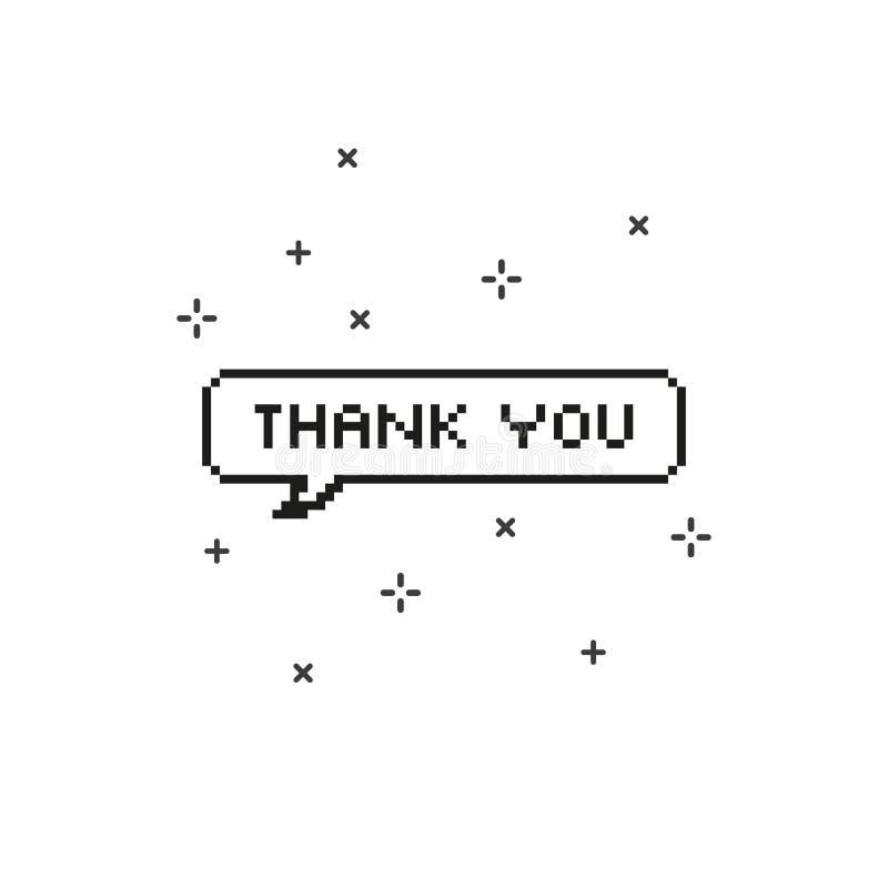Σας ευχαριστούμε στην οκτάμπιτη τέχνη εικονοκυττάρου λεκτικών φυσαλίδων διανυσματική απεικόνιση