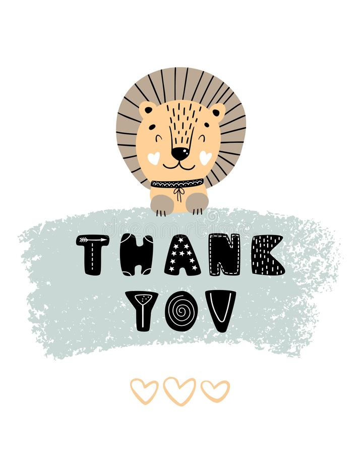 Σας ευχαριστούμε - χαριτωμένη συρμένη χέρι αφίσα βρεφικών σταθμών με λιοντάρι και την εγγραφή χαρακτήρα κινουμένων σχεδίων το ζωι διανυσματική απεικόνιση