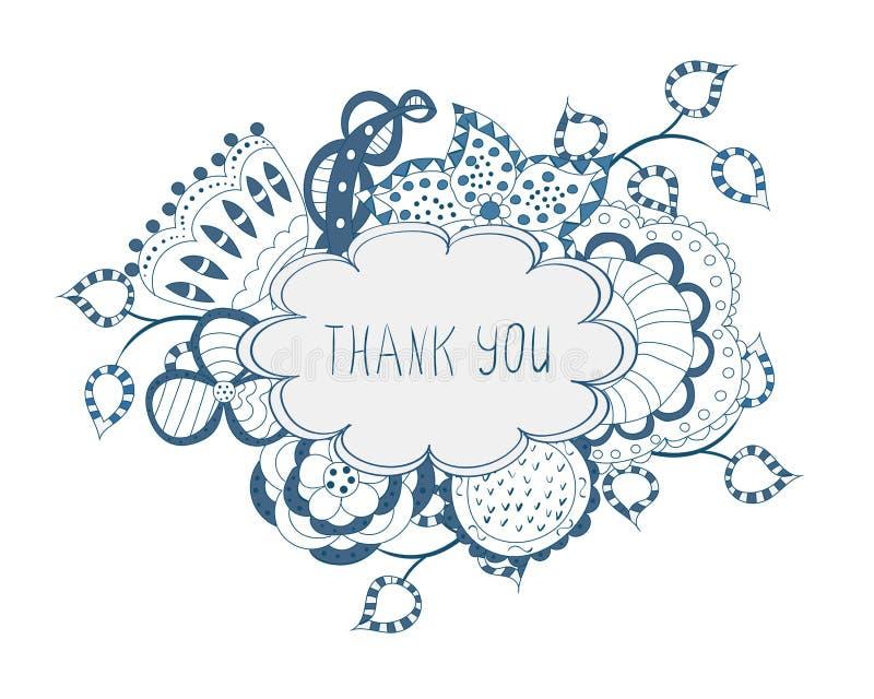 Σας ευχαριστούμε floral πλαίσιο απεικόνιση αποθεμάτων
