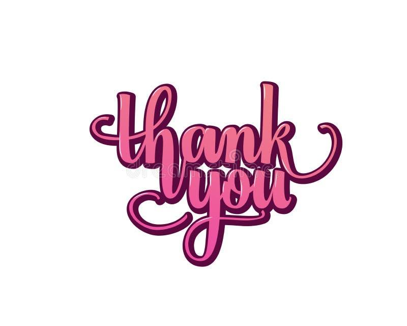 Σας ευχαριστούμε greating γράφοντας κείμενο χεριών καρτών, καλλιγραφία μελανιού βουρτσών, διανυσματικό σχέδιο τύπων διανυσματική απεικόνιση